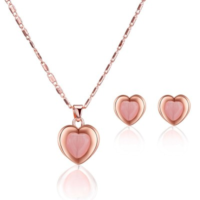Peach Heart Necklace Earring Set Wedding Necklace Set Jewelry European and American Bridal Set