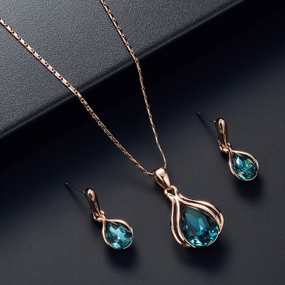 Wedding Earrings Electroplating Rose Gold Necklace Earring Set Jewelry Set For Women