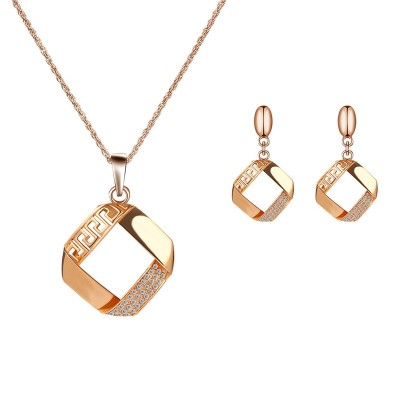 Alloy Plating Necklace Earrings Set European And American Bride Wedding Jewelry Set