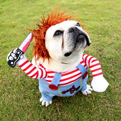 Pet Clown Dress Up Holiday Funny Halloween Christmas Dog Cat Upright Pet Autumn And Winter New Suits