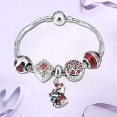 Christmas ins Style Bracelet Cute Rabbit Dripping Oil Beaded Stainless Steel Pendant Bracelet For Women