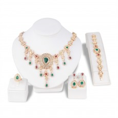 Retro Tassel Ethnic Style Gemstone Necklace Set Cross-border Exclusive Exaggerated Necklace Earrings Jewelry Set