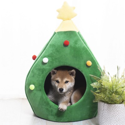 Christmas Tree Cat Litter Kennel Winter Warm Pet Litter Winter Cute Cat House For Pets