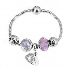 Ocean Heart Opal Beaded Bracelet Pan's Pink Love Color Pendant Accessories Bracelet Women DIY Jewelry