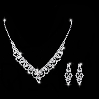 Fashion Lace Inlaid Diamond Necklace Earrings Set 602 Woman Accessories Wedding Decorations