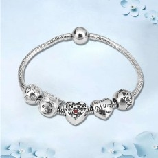 Mother's Day Gift Bracelet For Mother's Love Stainless Steel DIY Large Hole Beaded Pendant