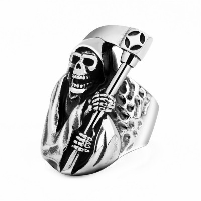 2020 In Style Personalized Retro Titanium Steel Ring Death Sickle Domineering Skull Male Ring
