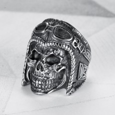 Explosive Accessories Creative Personality Trendy Men's Titanium Steel Ring Retro Pilot Skull Ring