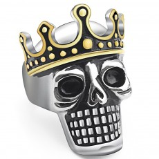 Retro Fashion Ring Personality Trend Accessories Crown Skull Ring Titanium Steel Jewelry For Men