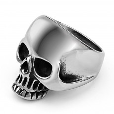 Creative Retro Skull Ghost Head Ring Titanium Steel Men's Ring Halloween Christmas Dress up Props