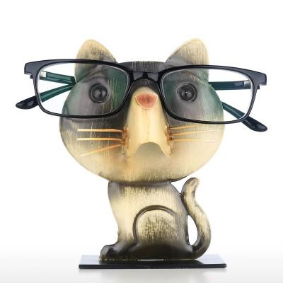 Tooarts Creative Iron Art Cartoon Cat Glasses Frame Home Office Desk Decoration Crafts Ornaments