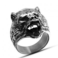 Wolf Head Couple Animal Stainless Steel Ring Hand With Jewelry For Men And Women