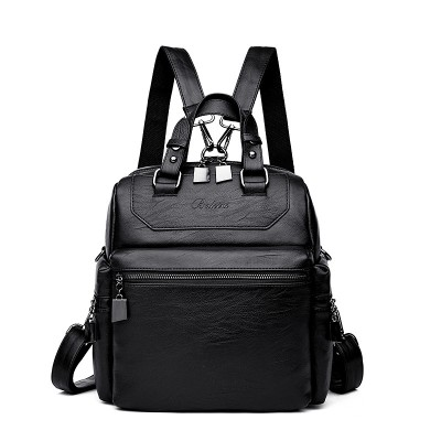Multifunctional Backpack Bag Cross-border Retro Soft PU Leather Casual Backpack Youth Shopping All-match Small School Bag For Women