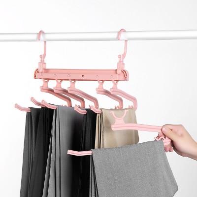 Folding Multifunctional Multi-layer Pants Rack Household Magic Pants Clip Wardrobe Storage Pants Hanger