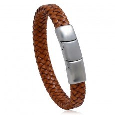 European And American Ceative Steel Color Stainless Steel Leather Bracelet Magnetic Titanium Steel Jewelry For Men