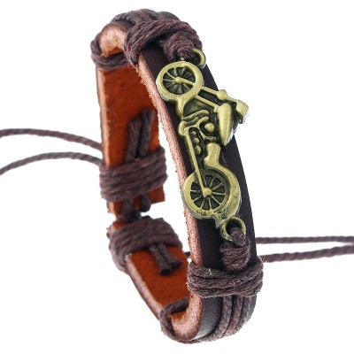 European And American Creative Steel Color Stainless Steel Leather Bracelet Magnetic Titanium Steel Jewelry For Men