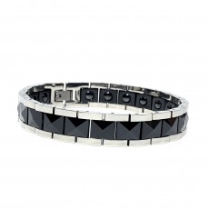 Black Ceramic Batch Flower Magnetic Jewelry Bracelet Men's Classic Black Jewelry