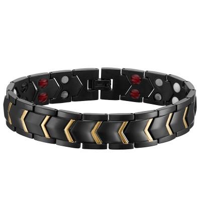 Korean Fashion Style Ladies Jewelry Titanium Steel Gold Inlaid CNC Zircon Magnetic Health Care Ladies Bracelet