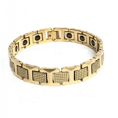 Tungsten Steel Gold Pineapple Pattern Magnetic Bracelet Personality Domineering Jewelry