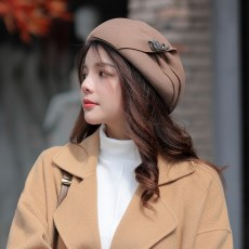 Female Autumn And Winter Wool Beret Dome British Style Small Top Hat Korean Youth Travel Fashion Painter Hat