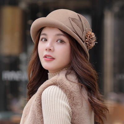 Autumn And Winter Dome Curling Top Hat Korean Style With Flower Elegant Woolen Design All-match Basin Hat For Ladies