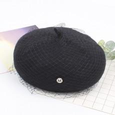 Mesh Beret Autumn And Winter Fashion Korean Version 2020 New Wild Pumpkin Hat Literary Retro Wool Painter Hat For Ladies