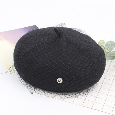 Mesh Beret Autumn And Winter Fashion Korean Version 2021 New Wild Pumpkin Hat Literary Retro Wool Painter Hat For Ladies
