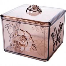 Transparent Carved Lipstick Storage Box Compartmented Plastic Cosmetic Box Desktop Cotton Swab Box
