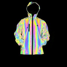 Autumn And Winter New Colorful Reflective Jacket Men's Cross-border Amazon Ins Explosion Rainbow Color Luminous Large Size Lacket