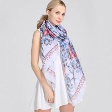 Satin Imitation Silk Printed Silk Scarf Korean Fashion Wild Shawl Scarf Dual-use For Ladies