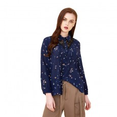 Spring And Autumn New Mulberry Silk Blouse, Silk Loose-fitting Female Shirt, Fashion Temperament Printed Silk Shirt