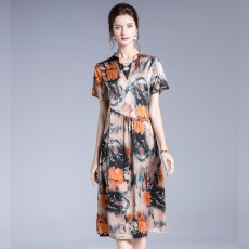 Silk Fragrant Cloud Satin Color Dress, Silk And Satin Digital Printing Long Dress, Comfortable And Breathable Mulberry Silk Female Skirt