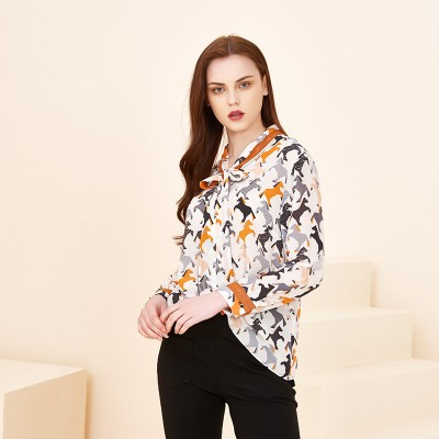 Breathable Lace Small Shirt European And American Pullover Round Neck lLong Sleeve Printed Temperament Mulberry Silk Shirt