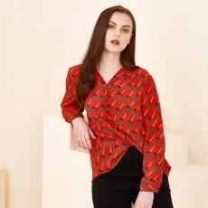 Long-sleeved Color Printed Silk Shirt Women 2020 Spring New Shirt Round Neck Mulberry Silk Temperament Top