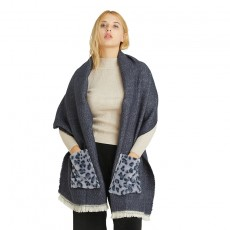 Pocket Imitation Cashmere Thick Shawl Leopard Print All-match Decorative Scarf Women Autumn And Winter Warm Long Bib