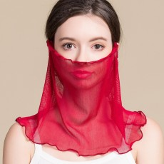 Silk Face Mask Cover Head Scarf Women Pure Color Sunscreen Breathable Thin Mask Neck Cover Small Silk Scarf For Ladies