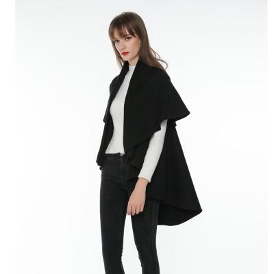 Pure Color Double-sided Round Shawl Cloak Versatile Monochrome Travel Cloak For Ladies