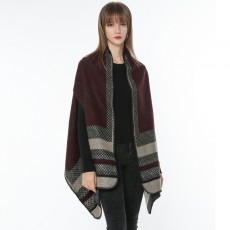 Autumn And Winter New Style European And American Women's Cashmere Vest With Thickened Split Scarf Shawl
