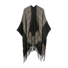 Jacquard Border Small Square Scarf European And American Shawl Lengthened Thickened Cloak For Ladies