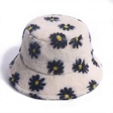2020 Korean Version Small Daisy Print Fisherman Hat Plush All-match Outing Keep Warm Rabbit Fur Basin Hat