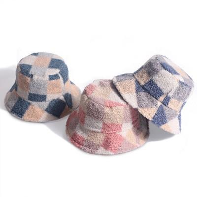 Adult Fisherman Hat Female Japanese Lamb Wool Plaid Basin Hat Outing keep Warm Plush Hat Tide