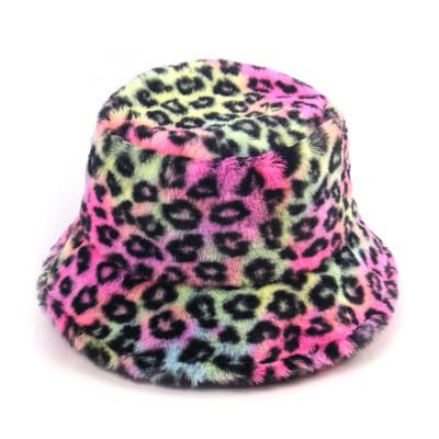 2020 Fashion Trend Fisherman Hat Female Fal Winter Leopard Rabbit Fur Fisherman Hat All-match Outing Basin Hat