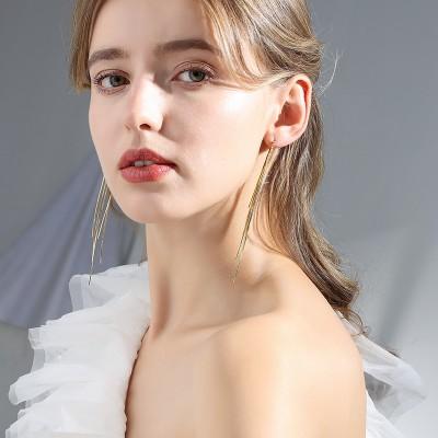 Fashion Line Long Tassel Fashion Simple Earrings Women 2021 New Trendy Personality Temperament Earrings