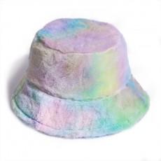 Rainbow Color Plush Fisherman Trendy Hat Winter Korean Fashion Wild Warm Pot Hat For Girls