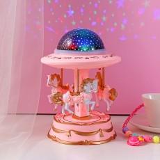 Creative Starry Sky Projector Lamp European Carousel Music Box Christmas Children's Day Birthday Gift