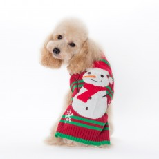 Christmas Pet Clothes Striped Embroidered Snowman New Year Dog Sweater Small And Medium-Sized Dog Fall Winter Clothing