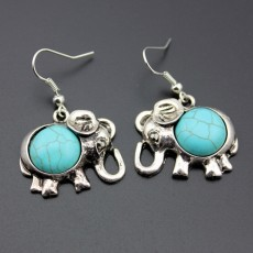 Alloy Elephant Necklace And Earrings Two Piece Set Turquoise Necklace Set Ornament