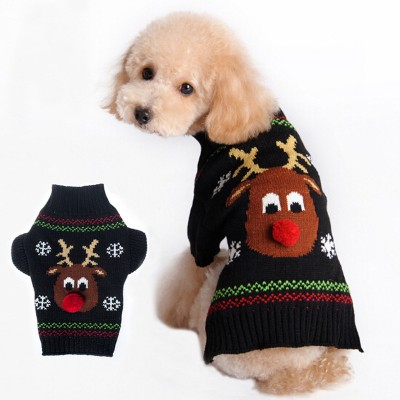 Christmas Pet Sweater Red Nosed Deer Cat And Dog Clothes Winter Clothes Teddy VIP Autumn And Winter Clothes