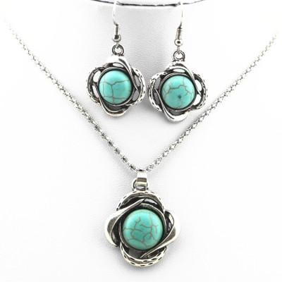Flower Shaped Turquoise Necklace Set Alloy Sweater Chain Necklace Earrings Turquoise Necklace Two Piece Set