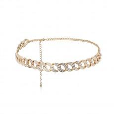 All-match Personality Exaggerated Body Chain Female Creative Full Diamond Simple Cross Chain Geometric Waist Chain Jewelry